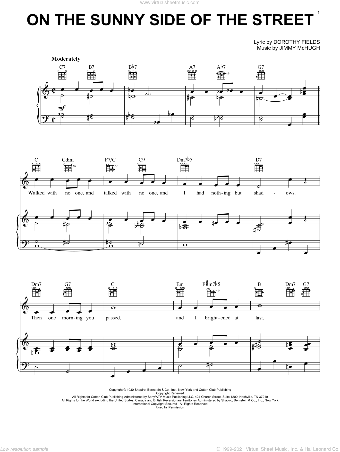 On The Sunny Side Of The Street sheet music for voice, piano or guitar by Dorothy Fields, Frank Sinatra, Louis Armstrong and Jimmy McHugh, intermediate. Score Image Preview.
