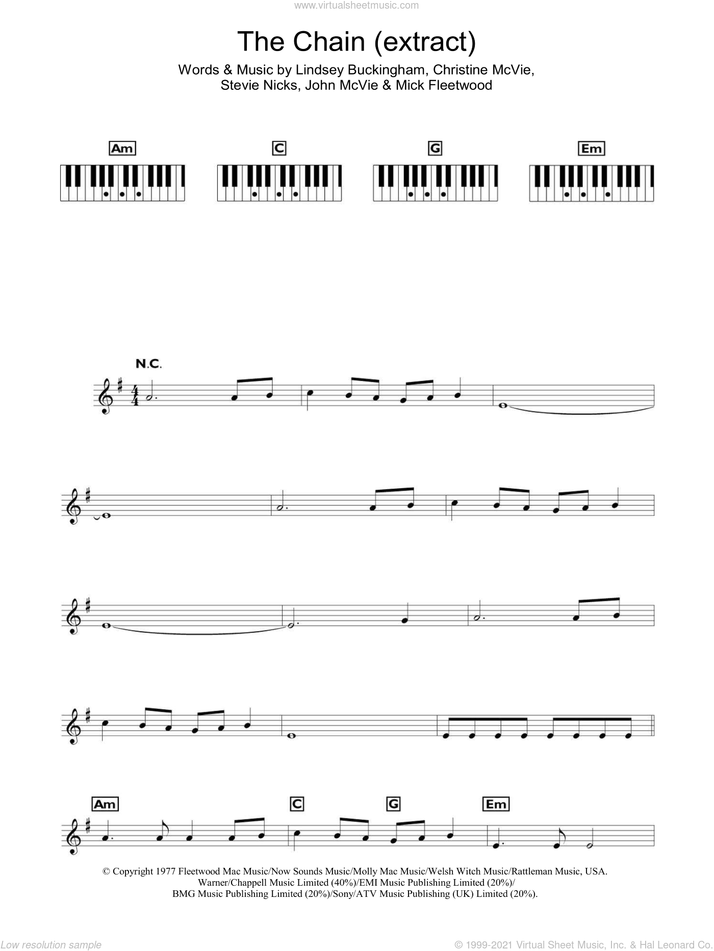 The Chain sheet music for voice and other instruments (fake book) by Fleetwood Mac, Christine McVie, John McVie, Lindsey Buckingham, Mick Fleetwood and Stevie Nicks, intermediate skill level