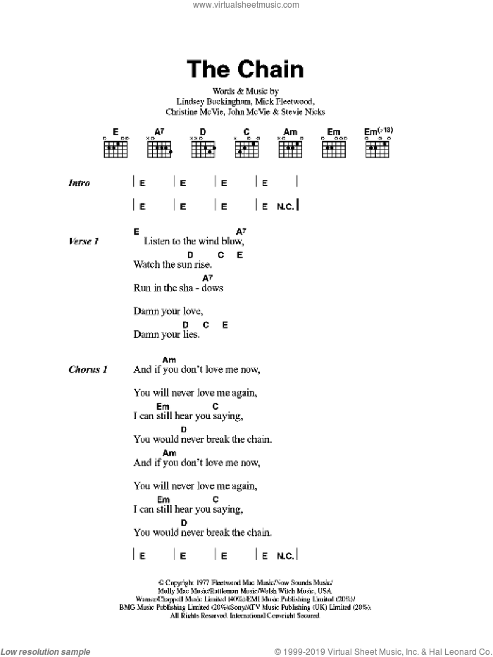 McVie - The Chain sheet music for guitar (chords)