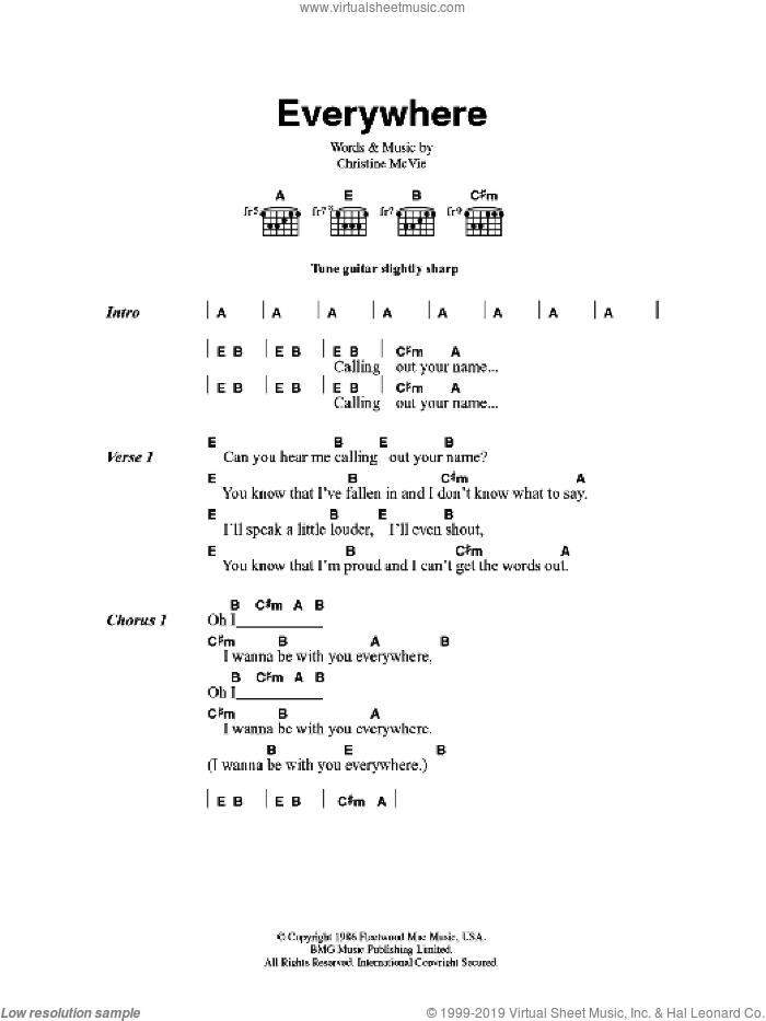 Everywhere sheet music for guitar (chords) by Fleetwood Mac and Christine McVie, intermediate skill level