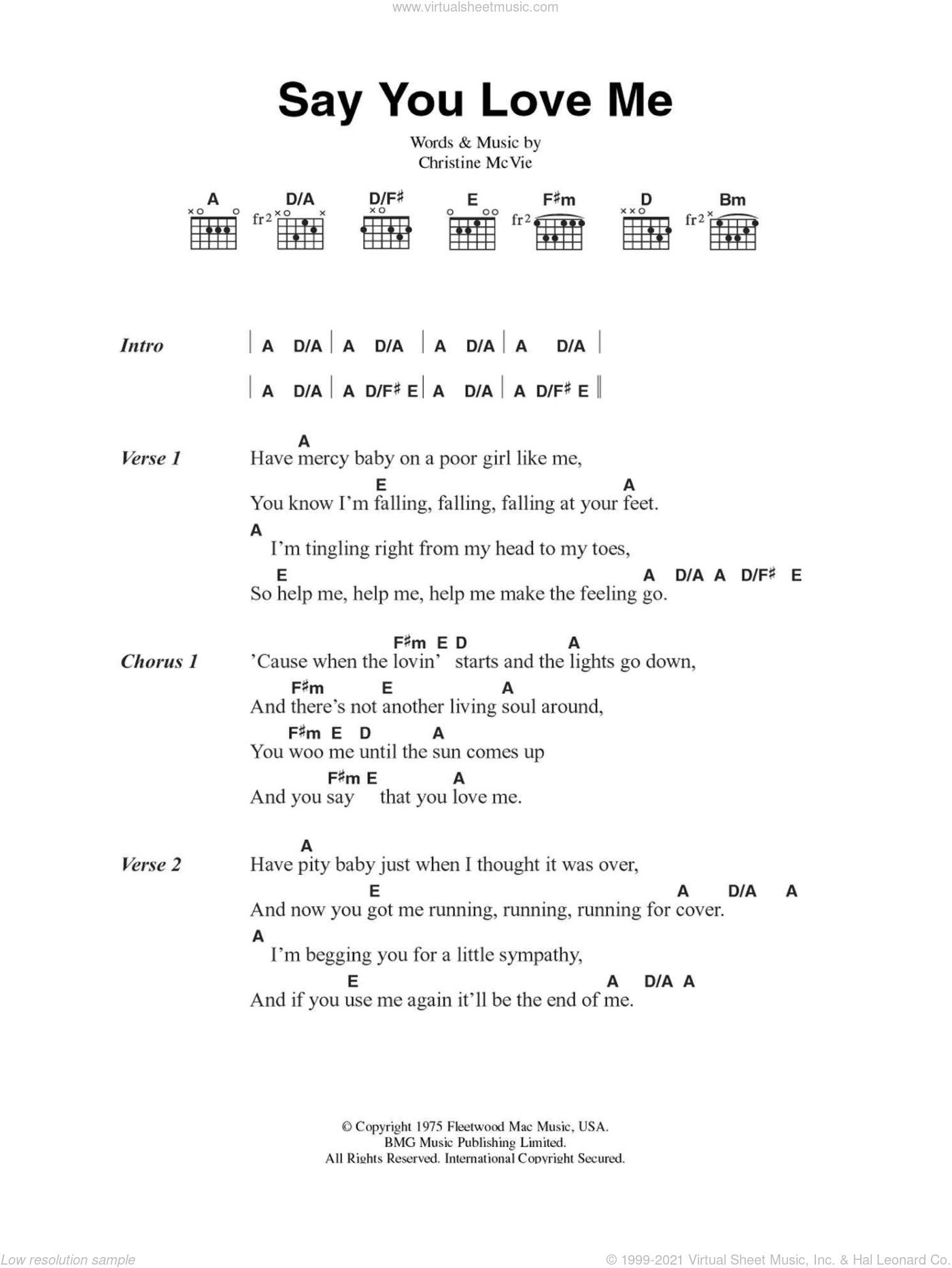 Say You Love Me sheet music for guitar (chords) by Fleetwood Mac, intermediate guitar (chords). Score Image Preview.