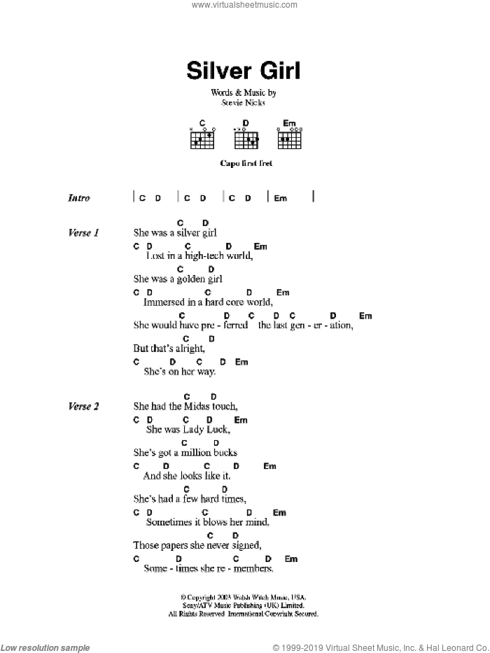 Silver Girl sheet music for guitar (chords) by Fleetwood Mac and Stevie Nicks, intermediate guitar (chords). Score Image Preview.