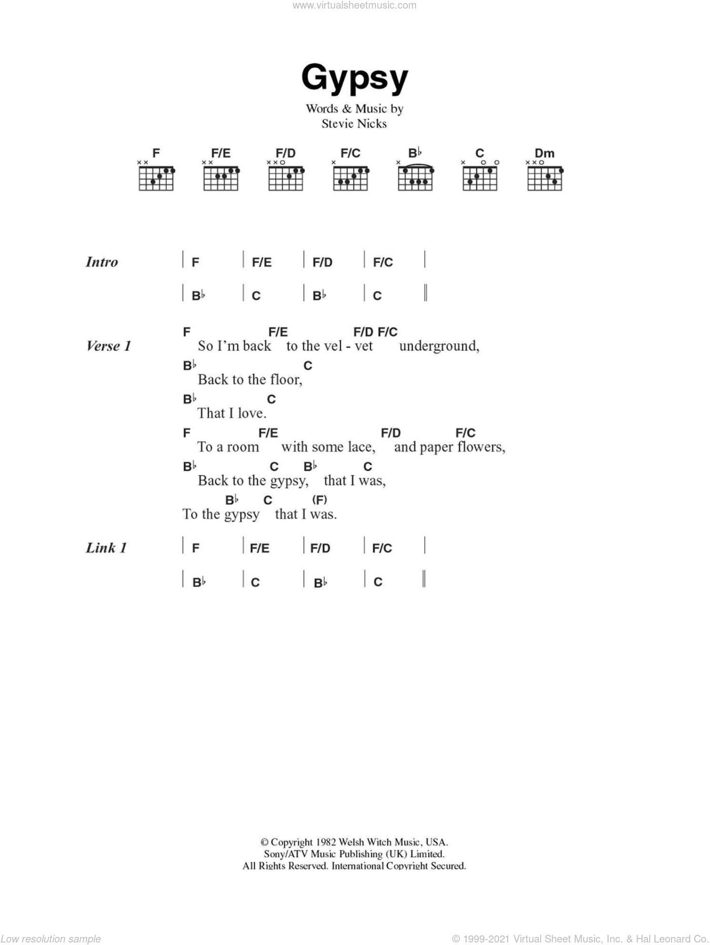 Mac Gypsy Sheet Music For Guitar Chords