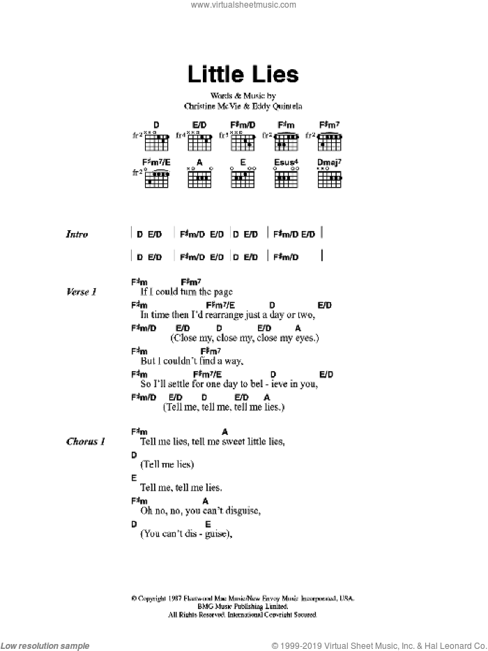 Little Lies sheet music for guitar (chords) by Fleetwood Mac, Christine McVie and Eddy Quintela, intermediate skill level