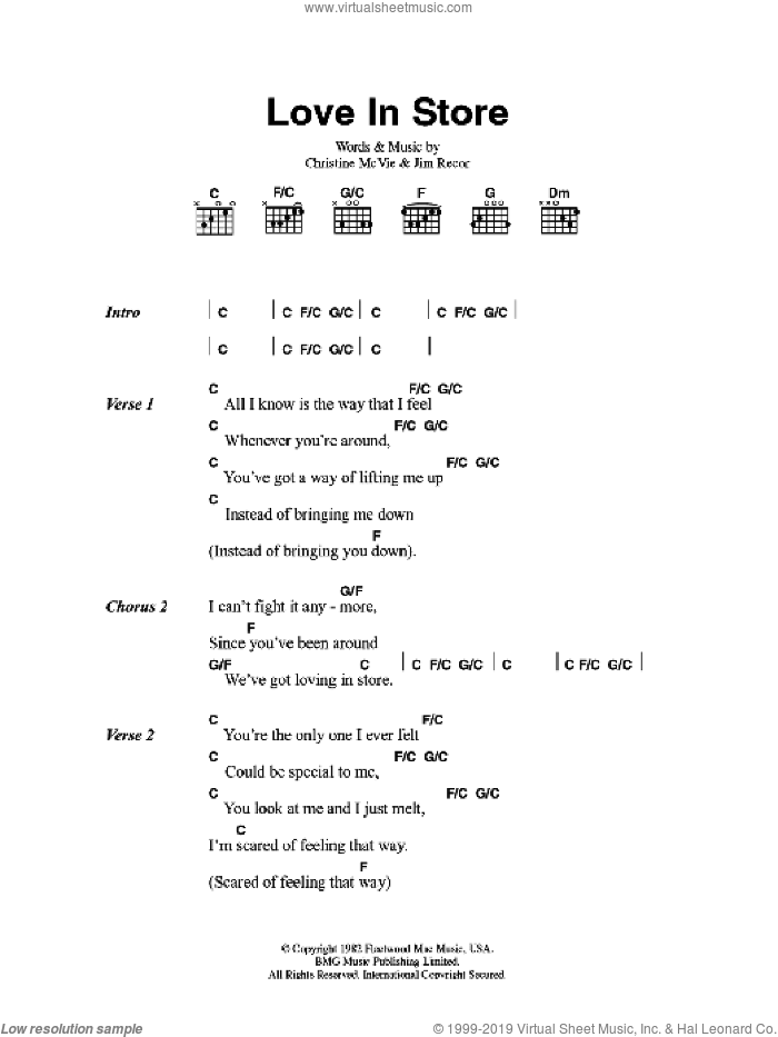 Love In Store sheet music for guitar (chords) by Christine McVie and Fleetwood Mac. Score Image Preview.