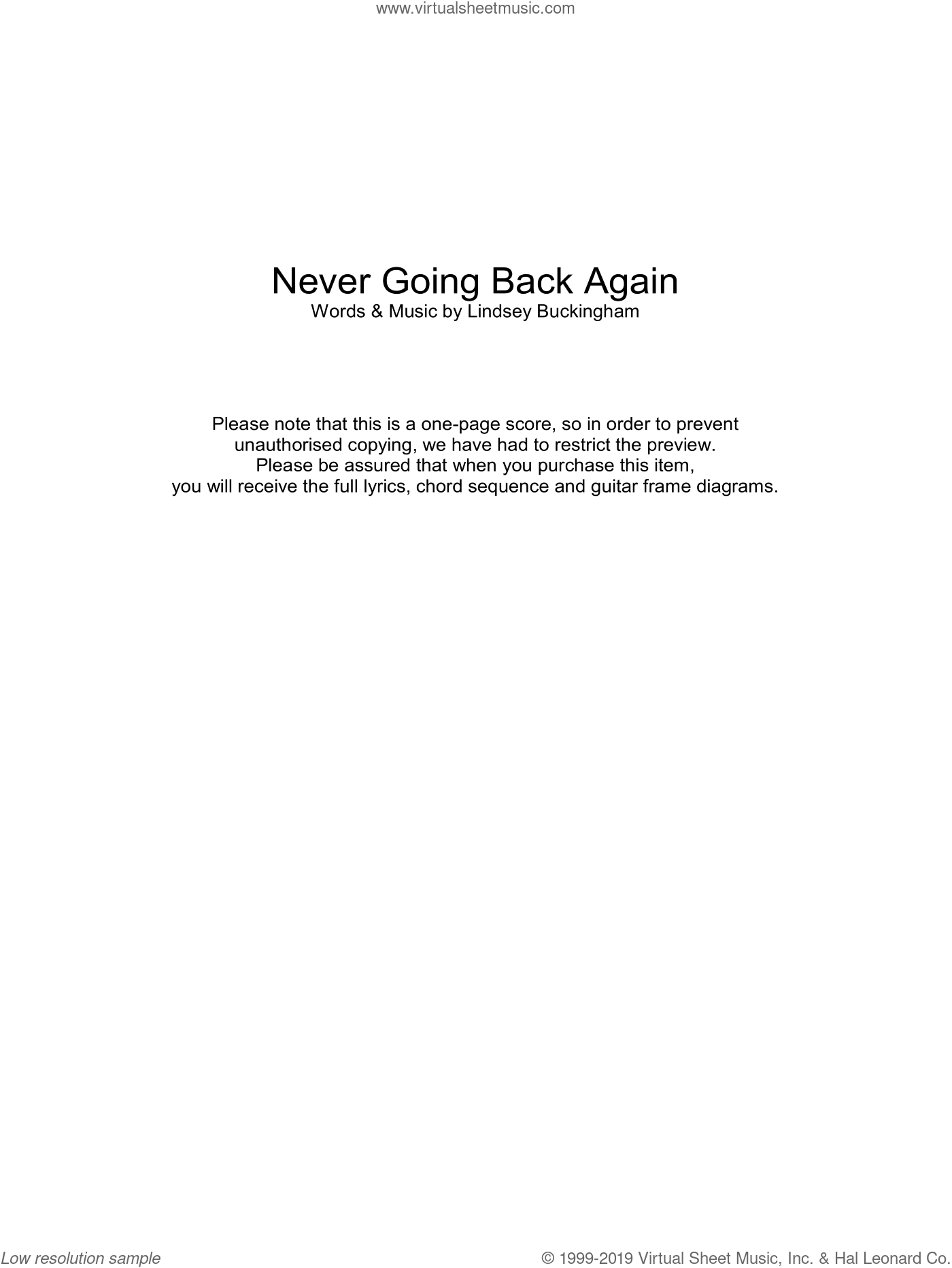 Never Going Back Again sheet music for guitar (chords) by Lindsey Buckingham