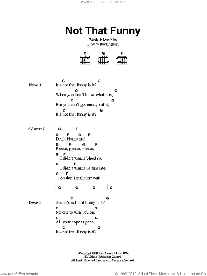 Not That Funny sheet music for guitar (chords) by Lindsey Buckingham and Fleetwood Mac. Score Image Preview.