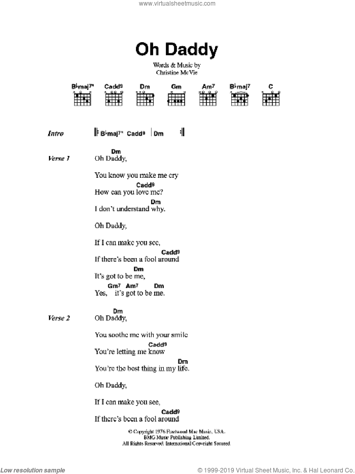 Oh Daddy sheet music for guitar (chords) by Fleetwood Mac and Christine McVie, intermediate skill level