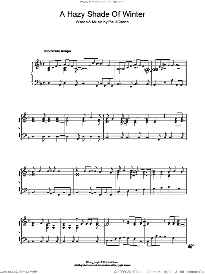 A Hazy Shade Of Winter sheet music for piano solo by Simon & Garfunkel and Paul Simon, intermediate