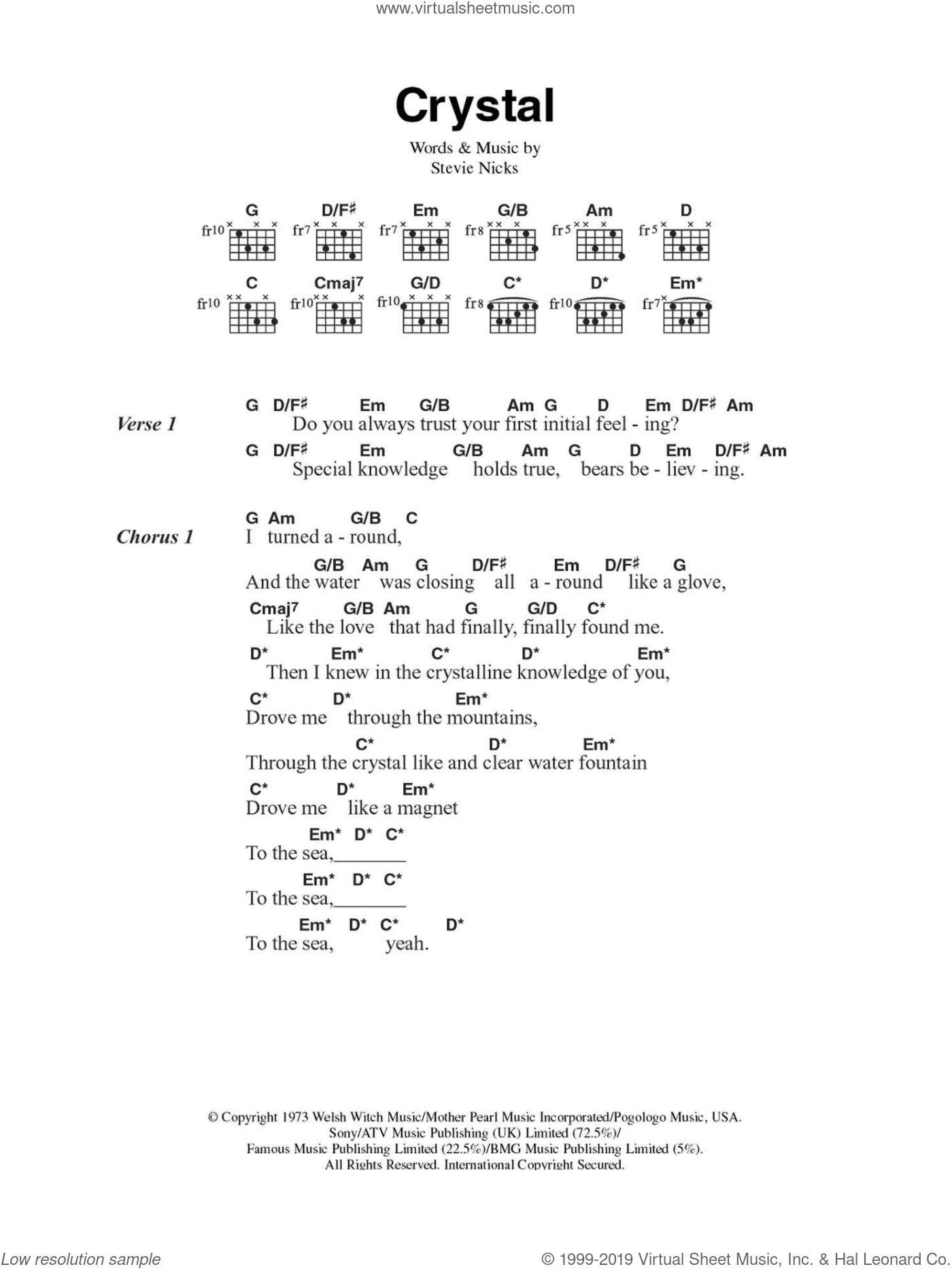 Crystal sheet music for guitar (chords) by Stevie Nicks and Fleetwood Mac. Score Image Preview.