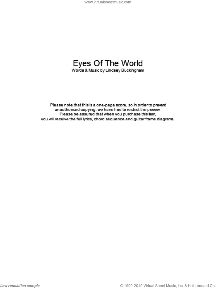 Eyes Of The World sheet music for guitar (chords) by Lindsey Buckingham and Fleetwood Mac. Score Image Preview.
