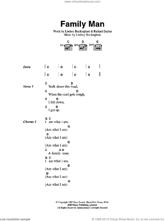 Family Man sheet music for guitar (chords) by Lindsey Buckingham