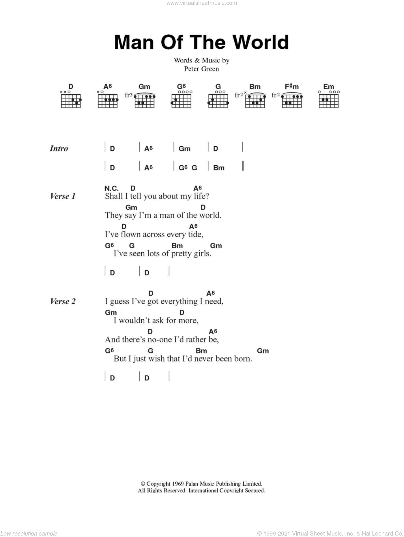 Mac - Man Of The World sheet music for guitar (chords) [PDF]