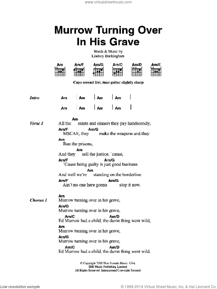 Murrow Turning Over In His Grave sheet music for guitar (chords) by Lindsey Buckingham