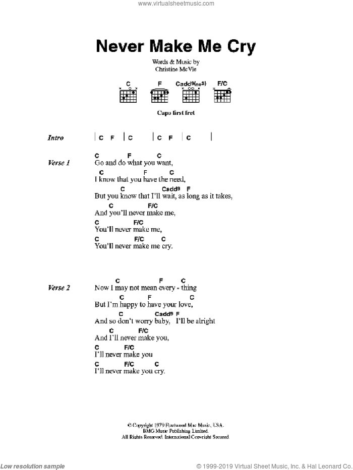 Never Make Me Cry sheet music for guitar (chords) by Fleetwood Mac. Score Image Preview.