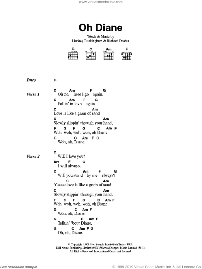 Oh Diane sheet music for guitar (chords, lyrics, melody) by Lindsey Buckingham