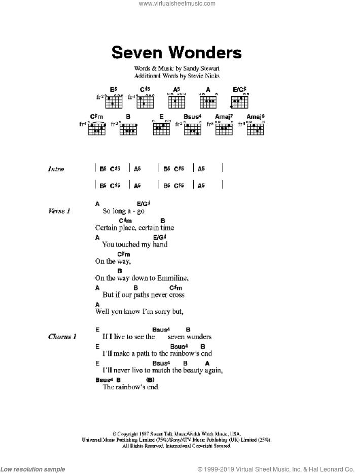 Seven Wonders sheet music for guitar (chords) by Fleetwood Mac, Sandy Stewart and Stevie Nicks, intermediate skill level