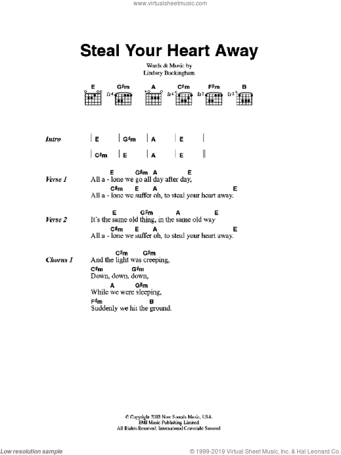 Steal Your Heart Away sheet music for guitar (chords) by Fleetwood Mac and Lindsey Buckingham, intermediate skill level