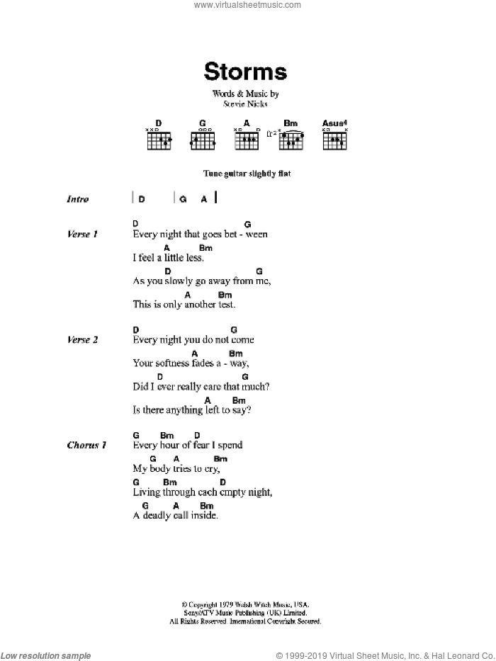 Mac - Storms sheet music for guitar (chords) [PDF]