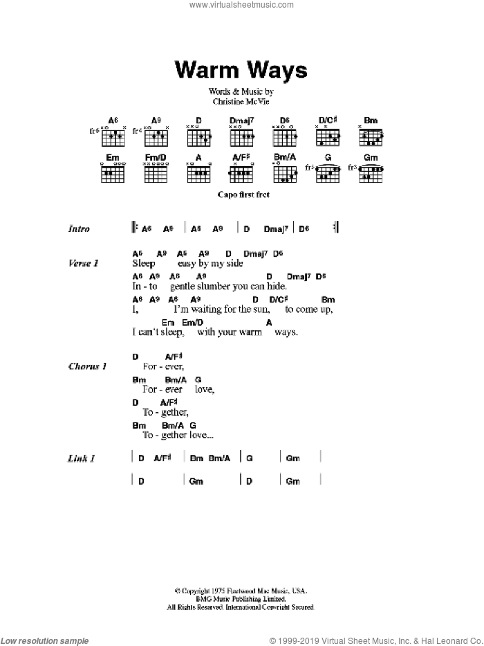 Warm Ways sheet music for guitar (chords) by Fleetwood Mac. Score Image Preview.