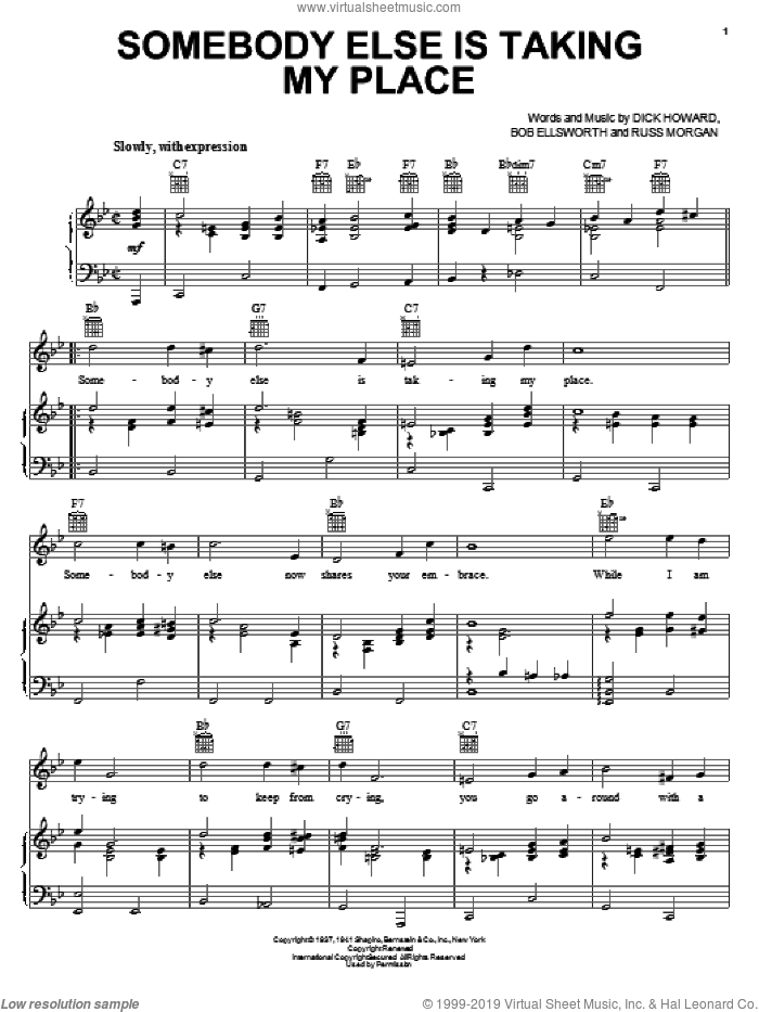 Somebody Else Is Taking My Place sheet music for voice, piano or guitar by Russ Morgan and Peggy Lee. Score Image Preview.