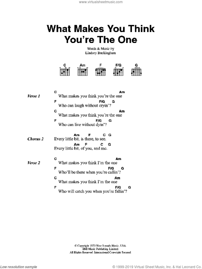 What Makes You Think You're The One sheet music for guitar (chords) by Fleetwood Mac and Lindsey Buckingham. Score Image Preview.
