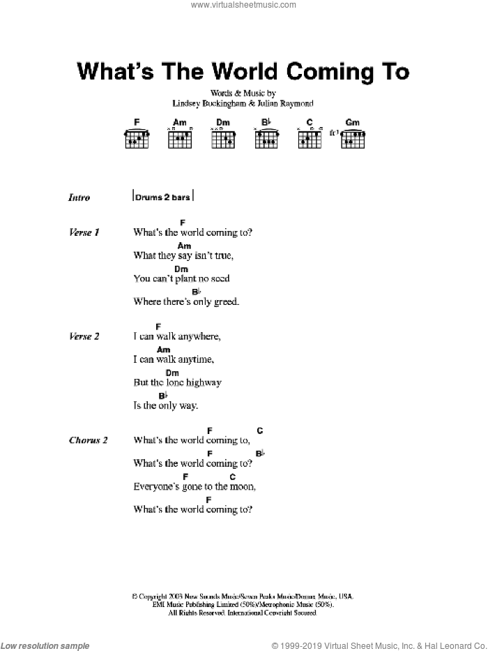 What's The World Coming To sheet music for guitar (chords) by Fleetwood Mac, Julian Raymond and Lindsey Buckingham, intermediate. Score Image Preview.