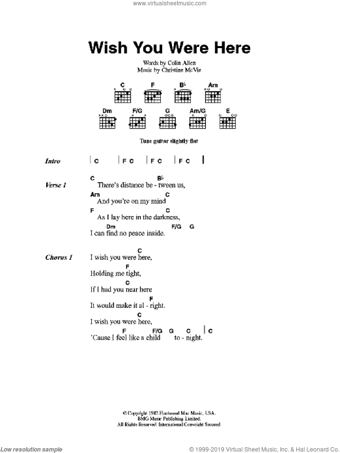 Mac - Wish You Were Here sheet music for guitar (chords) [PDF]
