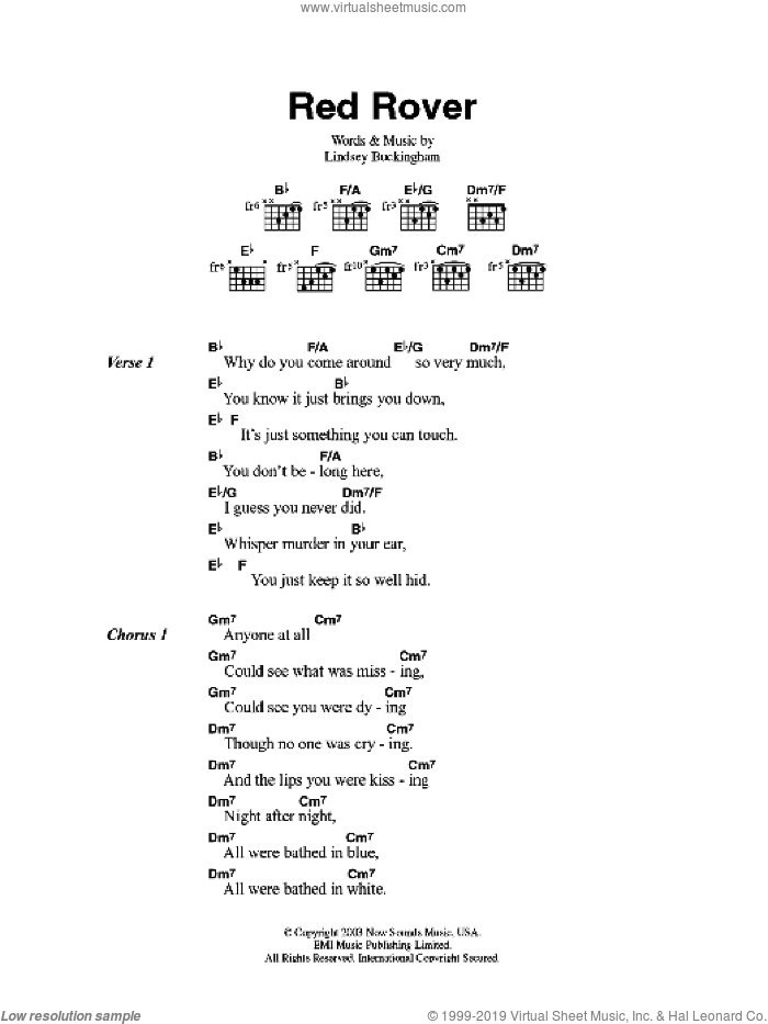 Red Rover sheet music for guitar (chords) by Fleetwood Mac and Lindsey Buckingham, intermediate guitar (chords). Score Image Preview.