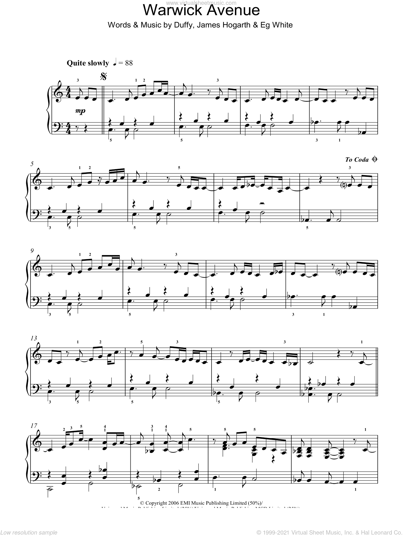 Warwick Avenue sheet music for piano solo by Duffy, Aimee Duffy, Francis White and James Hogarth, intermediate skill level