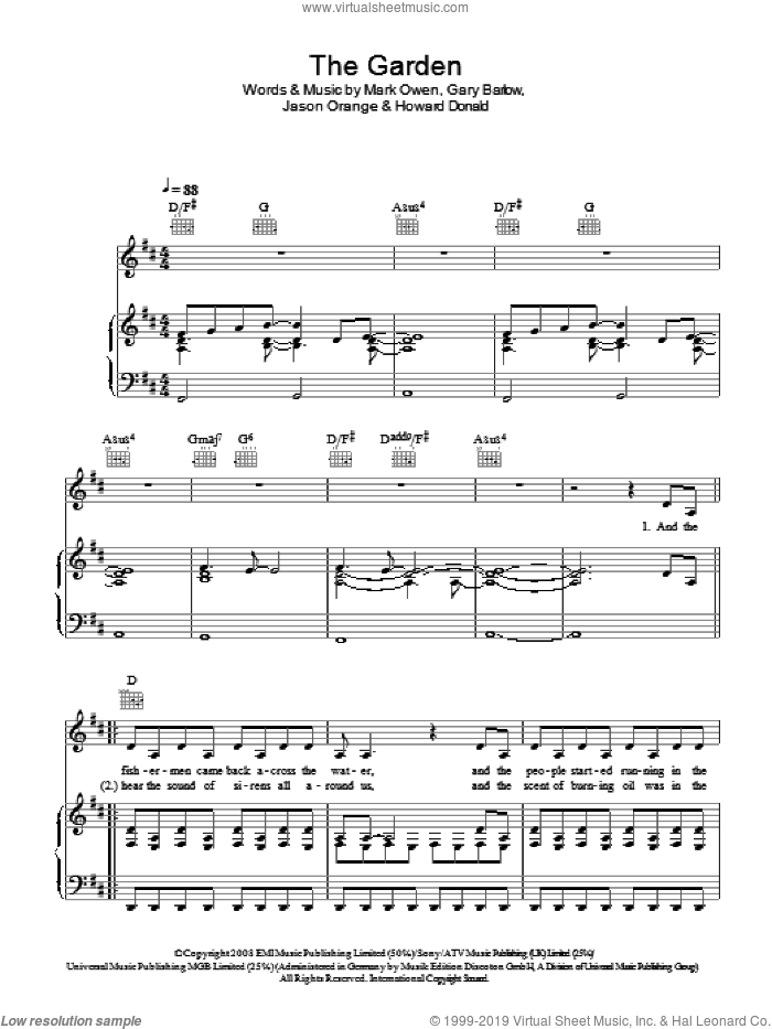 The Garden sheet music for voice, piano or guitar by Take That, Gary Barlow, Howard Donald, Jason Orange and Mark Owen, intermediate skill level