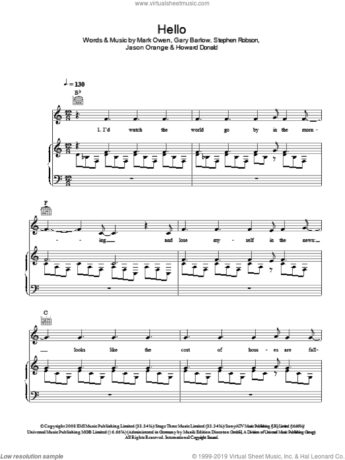 Hello sheet music for voice, piano or guitar by Take That, Gary Barlow, Howard Donald, Jason Orange, Mark Owen and Steve Robson, intermediate skill level