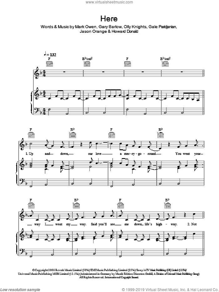 Here sheet music for voice, piano or guitar by Gale Paridjanian