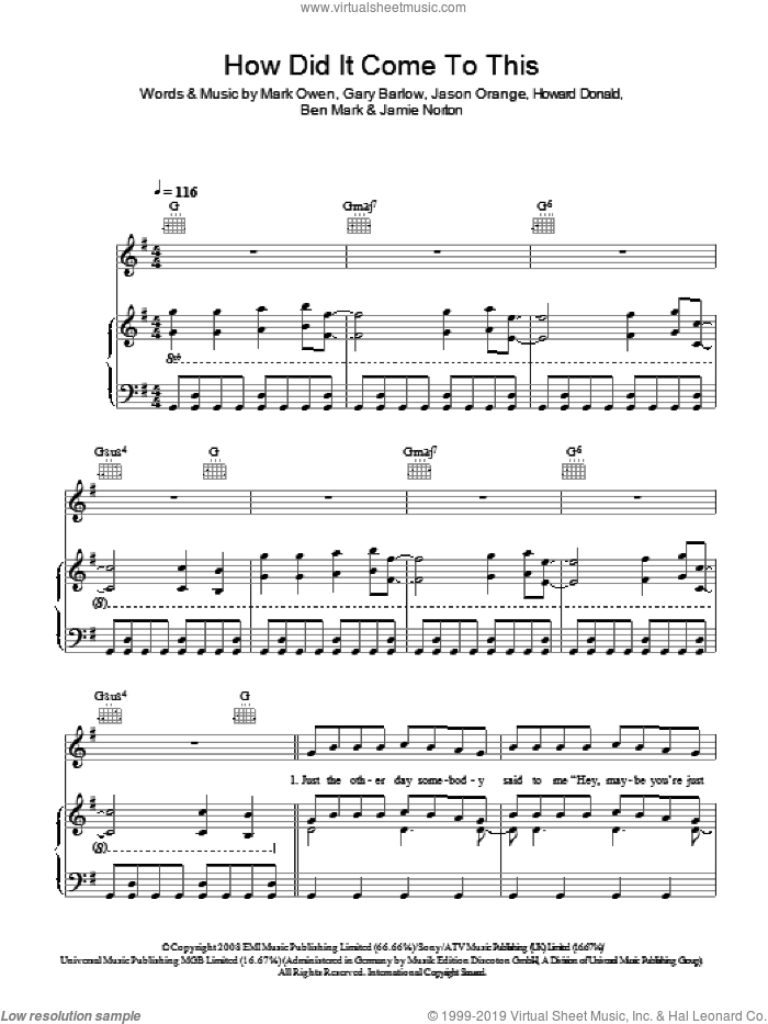 How Did It Come To This sheet music for voice, piano or guitar by Ben Mark, Take That, Gary Barlow, Jamie Norton and Mark Owen. Score Image Preview.