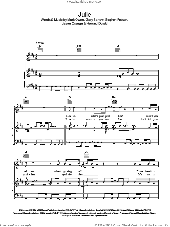 Julie sheet music for voice, piano or guitar by Gary Barlow, Take That, Mark Owen and Steve Robson. Score Image Preview.