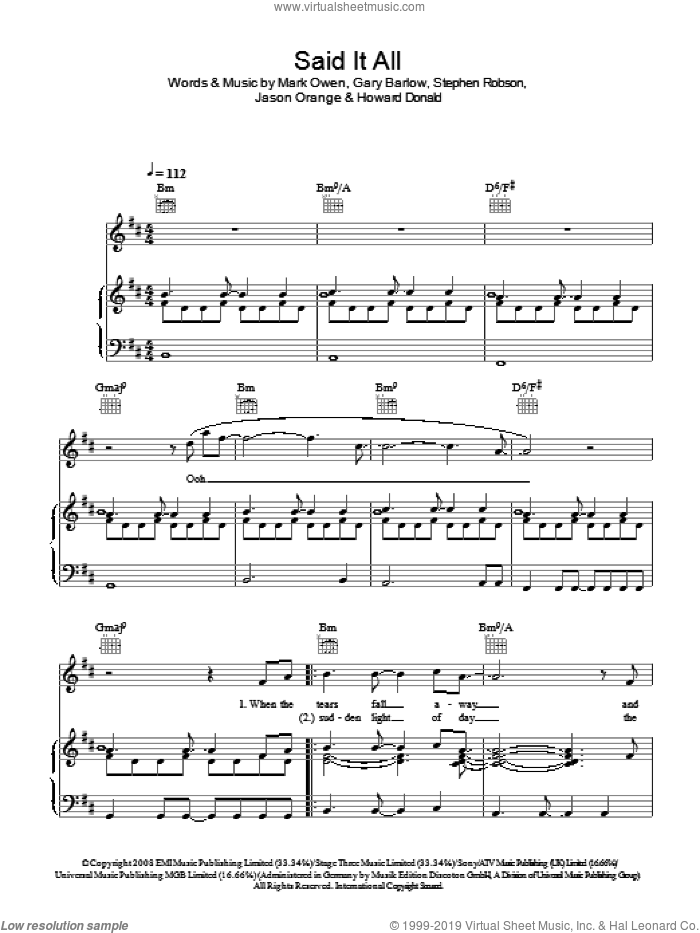 Said It All sheet music for voice, piano or guitar by Take That, Gary Barlow, Howard Donald, Jason Orange, Mark Owen and Steve Robson, intermediate skill level