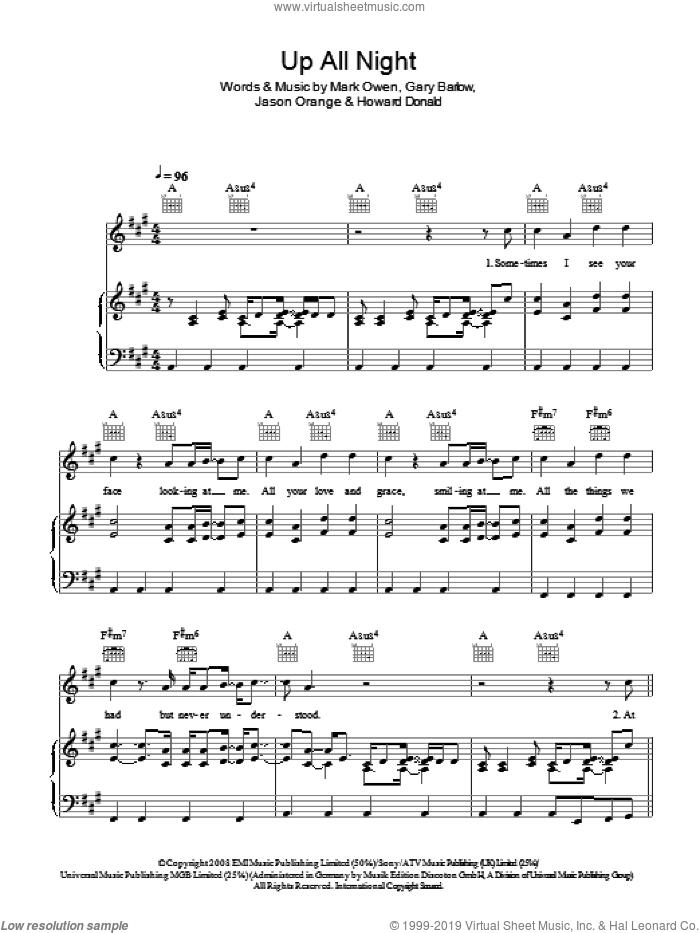 Up All Night sheet music for voice, piano or guitar by Take That, Ben Mark, Gary Barlow, Howard Donald, Jamie Norton, Jason Orange and Mark Owen, intermediate skill level