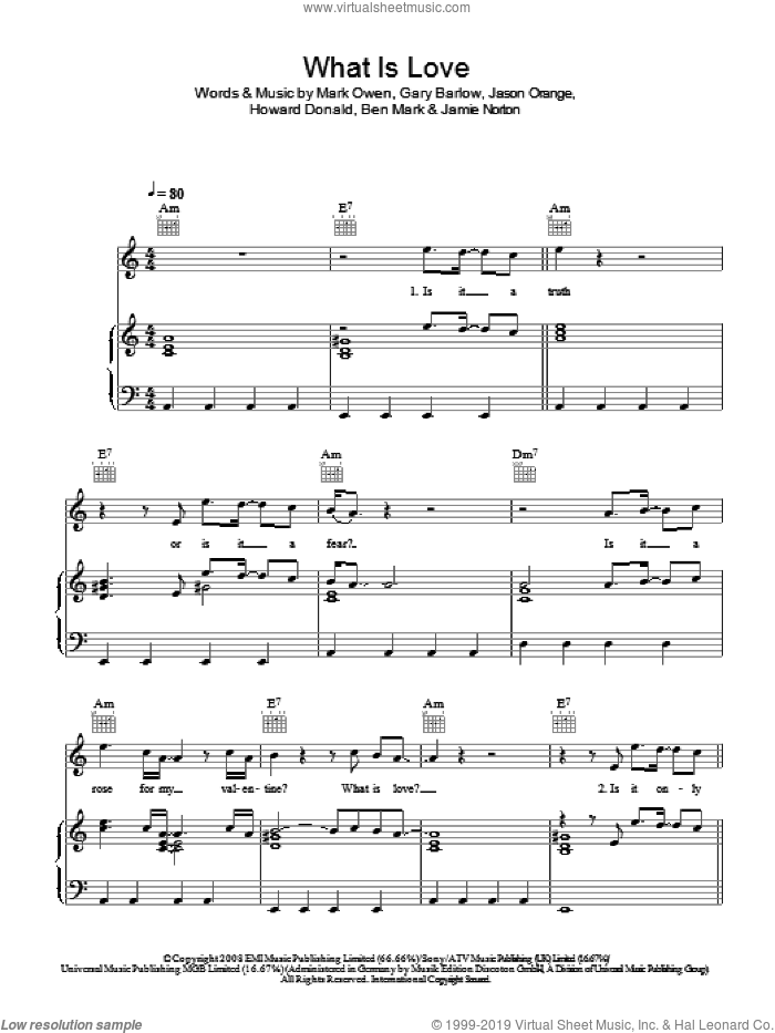 What Is Love sheet music for voice, piano or guitar by Gary Barlow, Take That and Mark Owen. Score Image Preview.