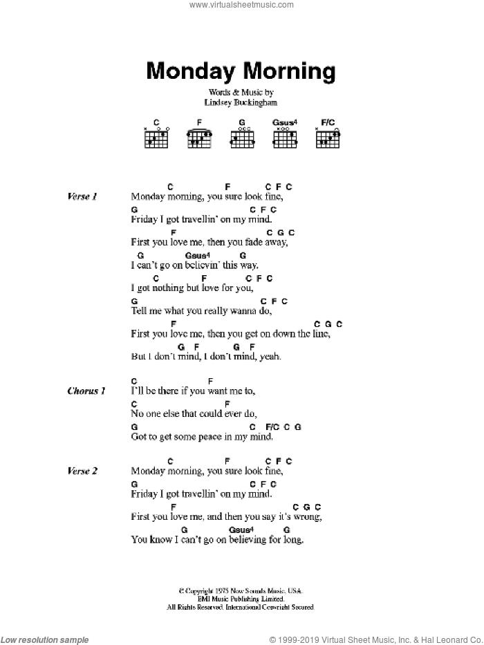 Mac - Monday Morning sheet music for guitar (chords) [PDF]