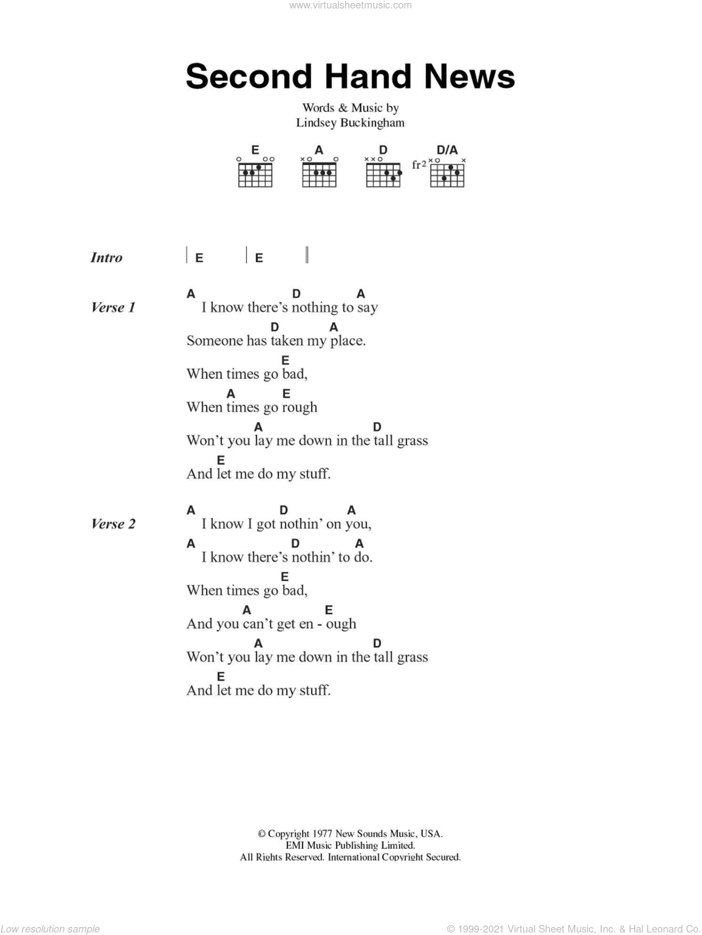 Second Hand News sheet music for guitar (chords) by Fleetwood Mac and Lindsey Buckingham, intermediate guitar (chords). Score Image Preview.