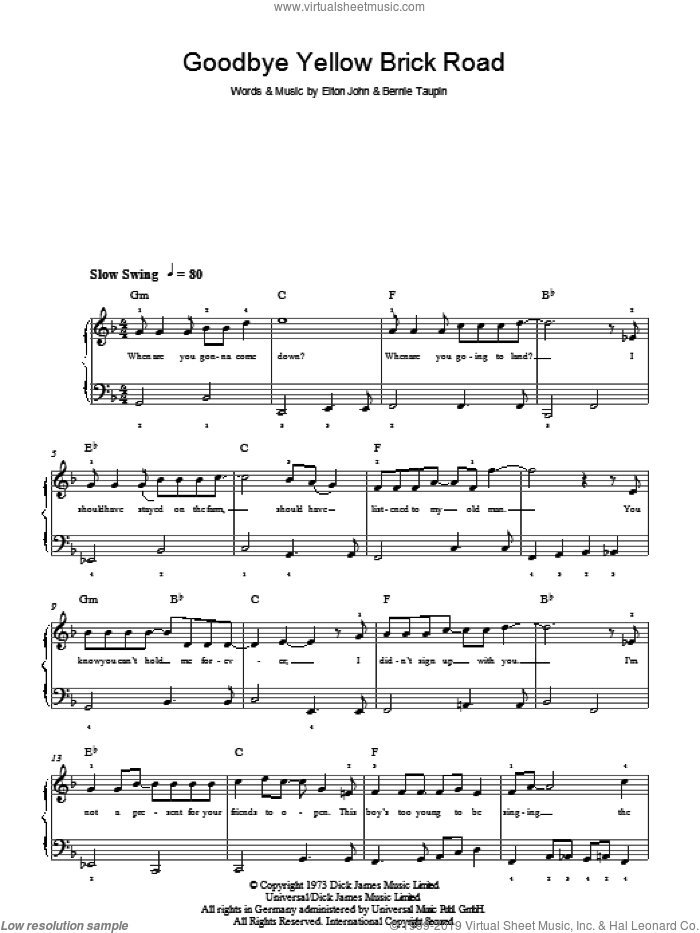 John Goodbye Yellow Brick Road Easy Sheet Music For Piano Solo