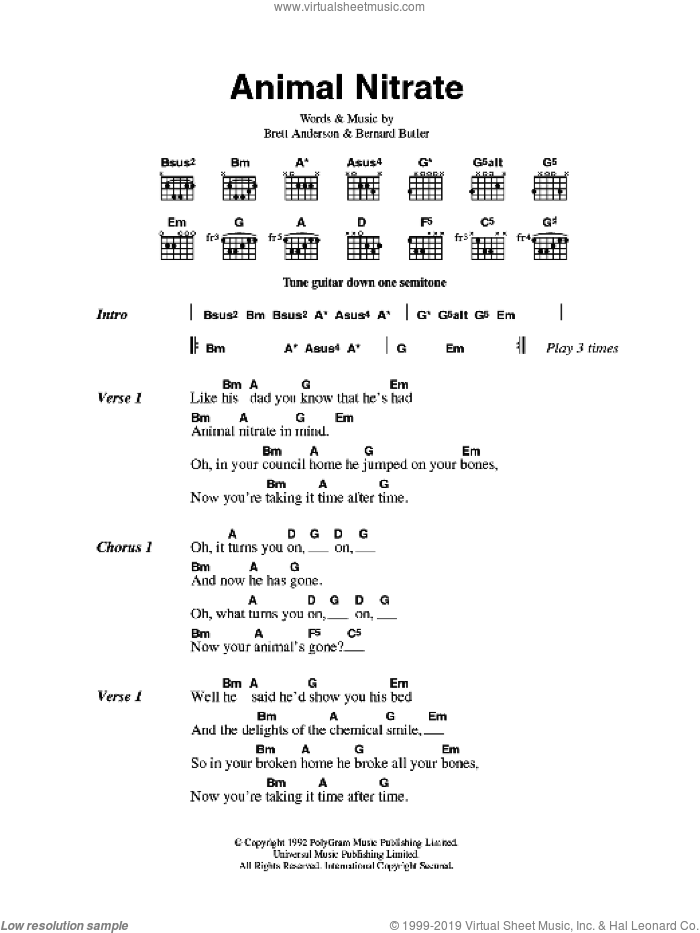 Animal Nitrate sheet music for guitar (chords) by Suede, Bernard Butler and Brett Anderson, intermediate. Score Image Preview.