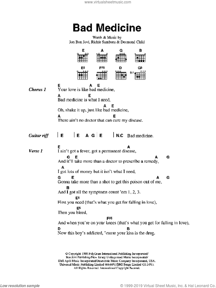 Bad Medicine sheet music for guitar (chords) by Desmond Child, Bon Jovi and Richie Sambora. Score Image Preview.