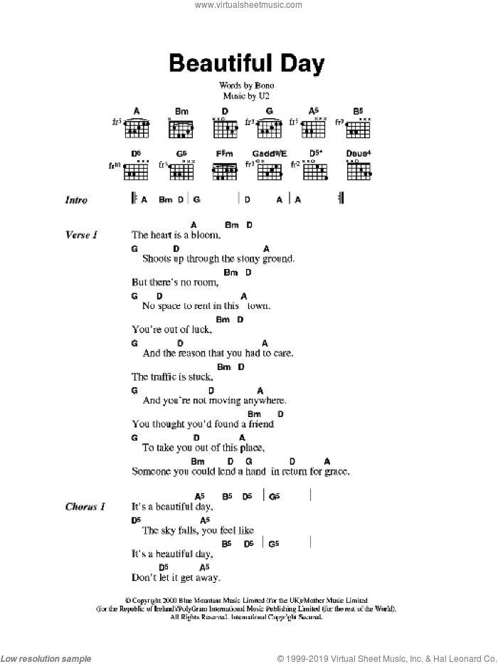 Beautiful Day sheet music for guitar (chords) by U2 and Bono, intermediate skill level