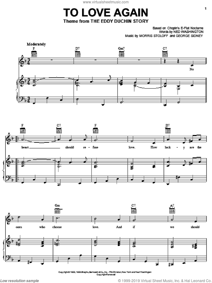 To Love Again sheet music for voice, piano or guitar by Woody Herman, Jerry Vale, George Sidney, Morris Stoloff and Ned Washington, intermediate. Score Image Preview.