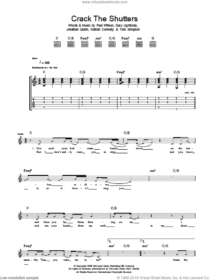 Crack The Shutters sheet music for guitar (tablature) by Gary Lightbody, Snow Patrol, Nathan Connolly, Paul Wilson and Tom Simpson
