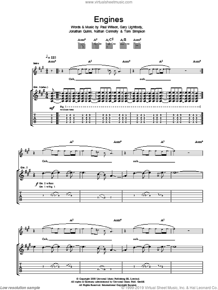 Engines sheet music for guitar (tablature) by Gary Lightbody