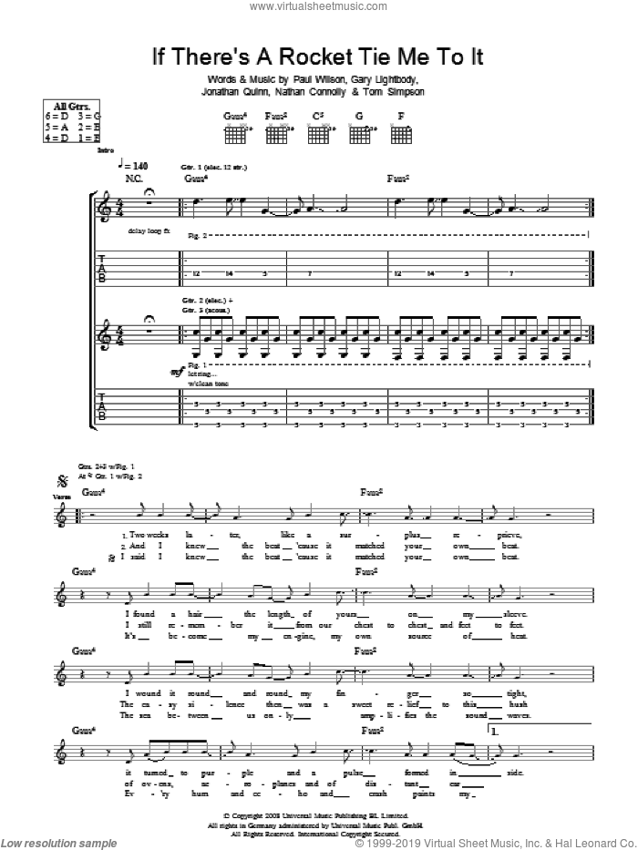 If There's A Rocket Tie Me To It sheet music for guitar (tablature) by Gary Lightbody