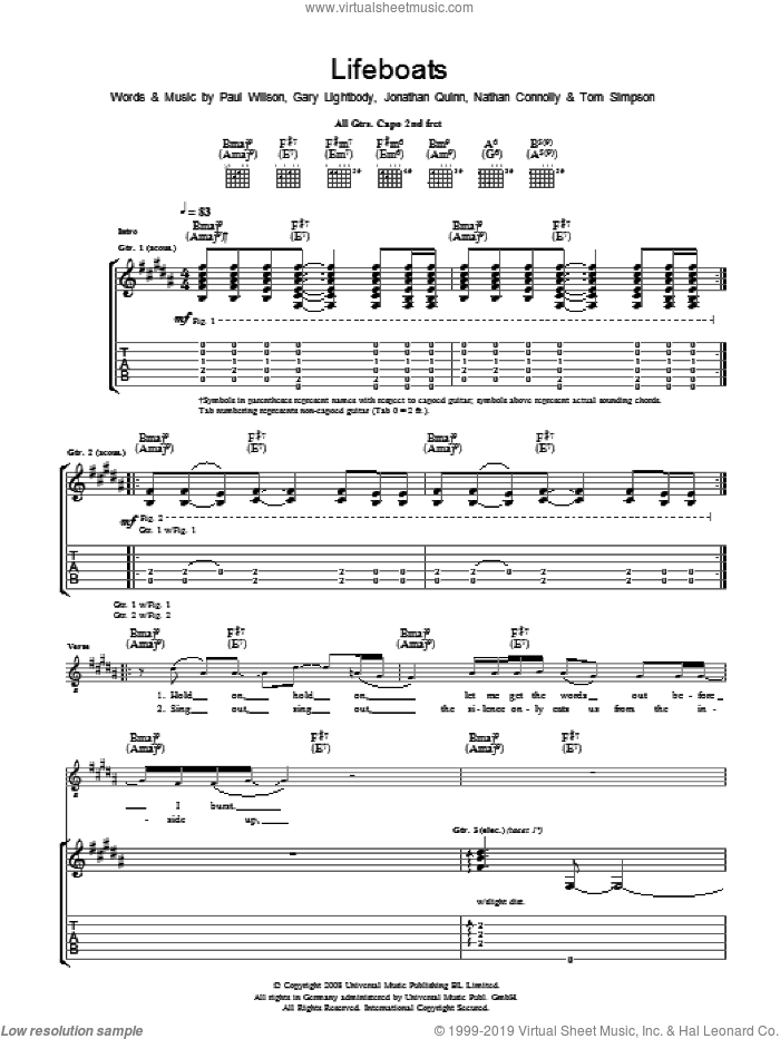Lifeboats sheet music for guitar (tablature) by Snow Patrol, Gary Lightbody, Jonathan Quinn, Nathan Connolly, Paul Wilson and Tom Simpson, intermediate. Score Image Preview.