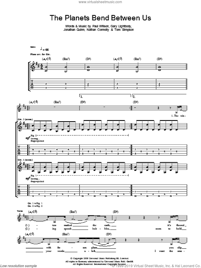 The Planets Bend Between Us sheet music for guitar (tablature) by Snow Patrol. Score Image Preview.